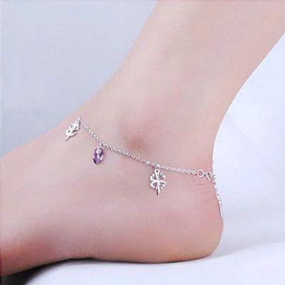 银脚链女S925纯银紫水晶足链新款个性学生森系长款四叶草脚链礼物
