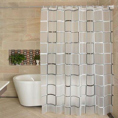 浴帘隔断帘浴帘布浴帘杆套装洗澡门帘卫生间防水布免打孔窗帘子布