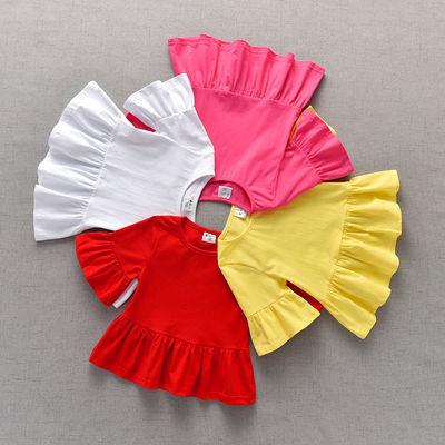 新款夏季女童纯棉短袖T恤喇叭中袖娃娃衫韩版儿童宝宝上衣包邮款
