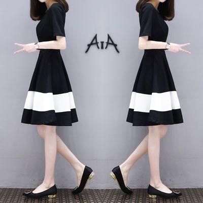 夏季新款女装韩版显瘦大码黑白拼接中长款时尚气质A字连衣裙