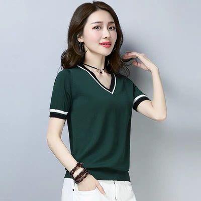 2019夏季大码新款短袖t恤女装半袖韩版宽松冰丝针织上衣V领打底衫