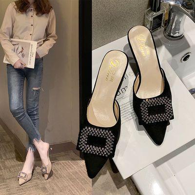 细跟高跟包头半拖凉拖鞋女时尚外穿2019新款温柔鞋仙女百搭女鞋子