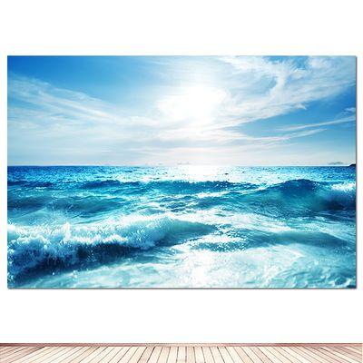 大海 浪花 蓝天白云海报装饰画风景画房间宿舍墙贴画海景壁画自粘