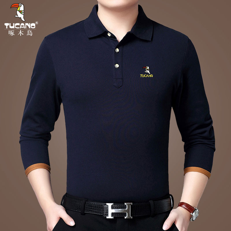 Woodpecker Long Sleeve T-shirt Men's Lapel Spring Middle Aged Men's Cotton Casual Polo Shirt Loose T-shirt Dad's Suit