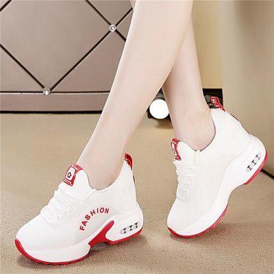 小白鞋子女内增高网面运动鞋2020春夏季新款韩版镂空透气旅游鞋女