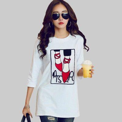 白色t恤女中长款春装韩版宽松显瘦打底衫纯棉刺绣百搭中袖上衣潮