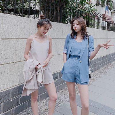 时尚三件套女2019新款春夏季吊带学生短袖小西装宽松短裤闺蜜外套