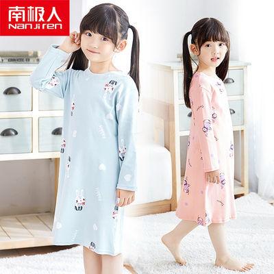 南极人儿童睡裙长袖女孩纯棉睡衣夏季宝宝薄款家居服中大儿童长裙