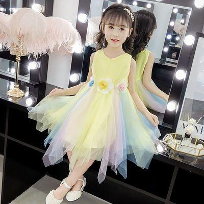 女童夏款裙子2020新款韩版蕾丝连衣裙女孩夏装儿童无袖公主裙纱裙