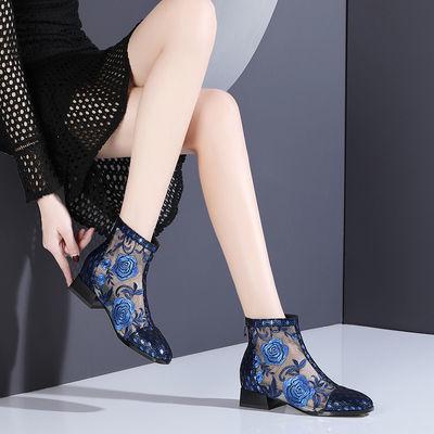 民族风刺绣花朵平跟凉靴春夏季靴子镂空网纱凉鞋女鞋平底真皮单靴