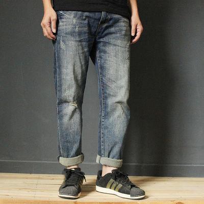 夏季潮牌宽松直筒牛仔裤男式破洞复古做旧浅蓝色个性百搭潮流长裤