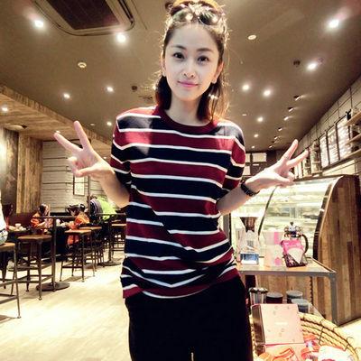 2019新夏T恤女针织红黑白撞色条纹韩版宽松百搭时尚套头短袖夏季