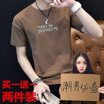 买一送一夏季男士短袖T恤青少年上衣服韩版潮流新款学生半袖男装