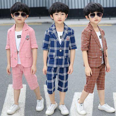 童装套装2020夏季男童西装三件套中大童夏款小学生休闲男孩衣服潮