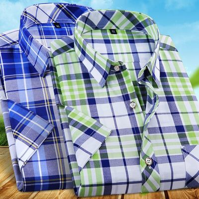 【夏季新品】格子短袖衬衫男士休闲韩版潮中青年薄款商务格子衬衣