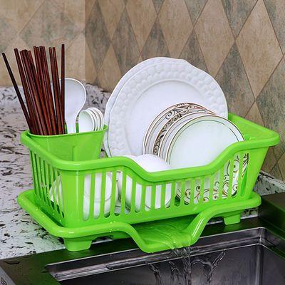 【亏本抢6万套】厨房沥水碗架放碗筷收纳盒水槽置物架塑料篮碗柜