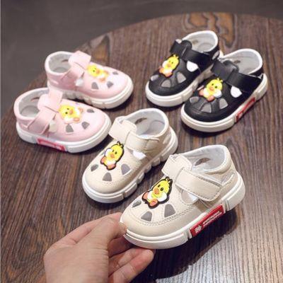 买一送一袜子夏季婴儿童软底防滑男女宝宝包头叫叫鞋学步鞋皮凉鞋