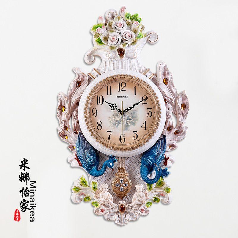 孔雀客厅挂钟静音大号欧式钟表复古家用创意卧室钟装饰时钟壁挂表