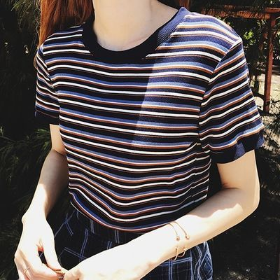 彩虹色修身圆领半袖横条纹t恤针织短袖上衣女夏2019新款韩版体恤
