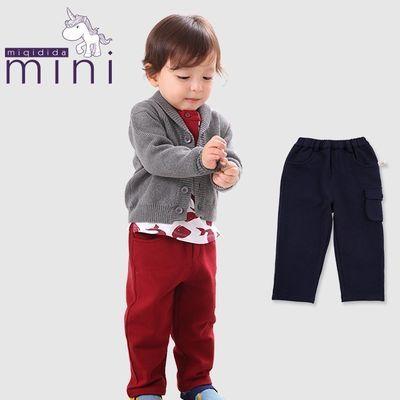 米奇丁当mini小童男童宝宝春秋时尚纯色简约风男宝气质长裤