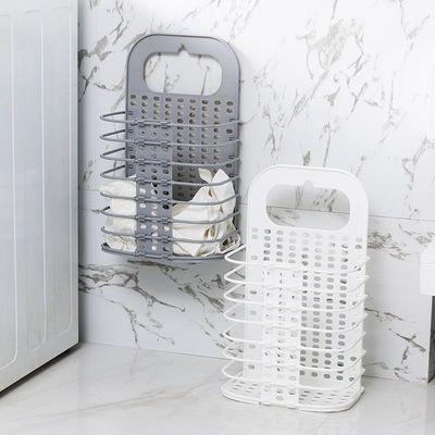 脏衣收纳篮可折叠塑料免打孔壁挂洗衣篮脏衣篓浴室卧室衣物收纳筐