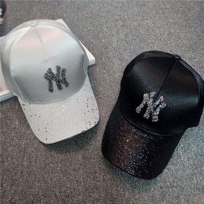 帽子女鸭舌帽手工水钻棒球帽女韩版新款时尚潮百搭春夏天遮阳帽子