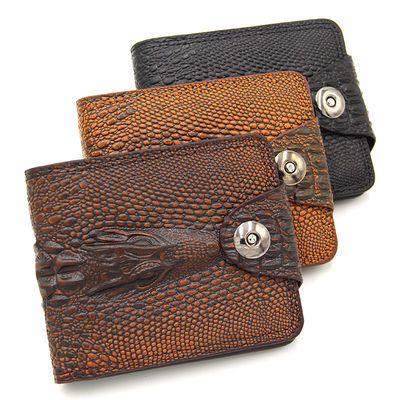 MenBense短款钱包鳄鱼纹搭扣男士大容量商务钱夹休闲皮夹子