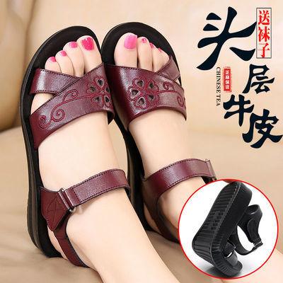 妈妈凉鞋平底软底真皮中老年平跟凉鞋女夏季舒适大码防滑老人女鞋