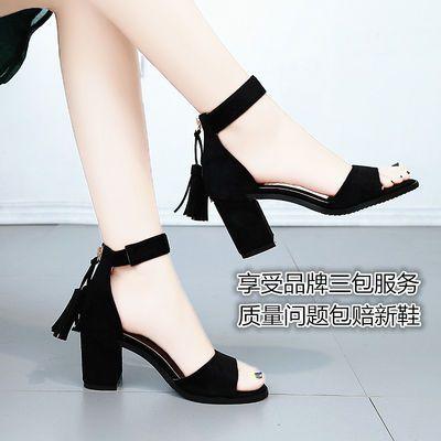 A01凉鞋女绒面粗跟女鞋中跟高跟一字流苏34到40码后拉链凉鞋