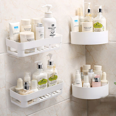 长彩[1-4个装】免打孔卫生间置物架浴室收纳架墙上厕所厨房三角架