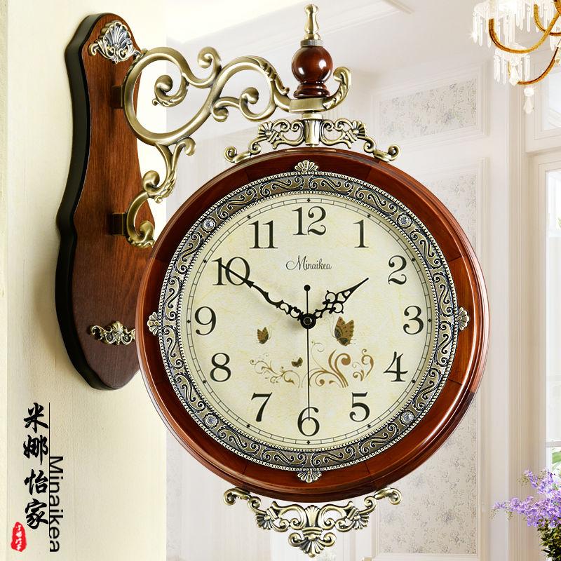欧式客厅挂钟仿古双面时尚实木两面静音石英钟表家用创意个性挂表