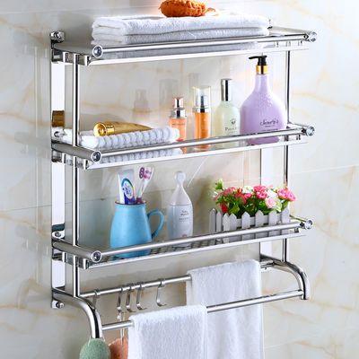 卫生间毛巾架免打孔厕所置物架不锈钢两层浴室挂钩洗手间五金挂件