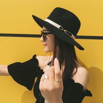 帽子女夏天遮阳帽度假巴拿马草帽夏季时尚百搭宽檐沙滩帽爵士礼帽