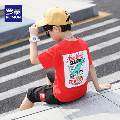 罗蒙童装男童套装中大童休闲印花卡通体恤五分裤个性韩版潮两件套