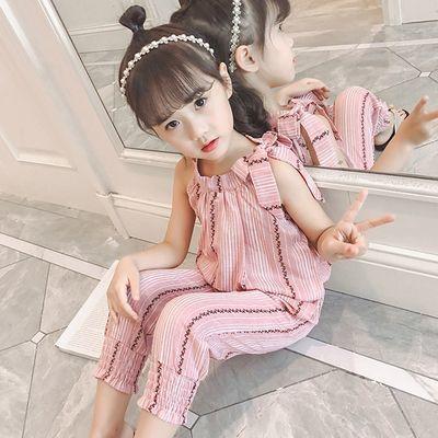 女童夏季套装中大童夏装新款童装女孩洋气条纹韩版儿童两件套棉麻
