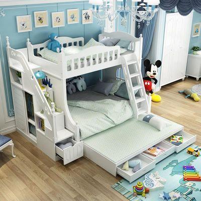 儿童高低床双层床省空间子母床实木床韩式上下床男女孩组合床