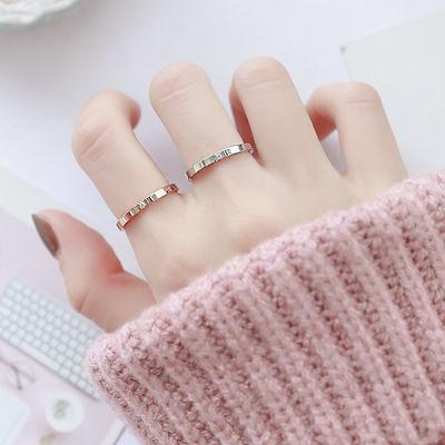 日韩版玫瑰金镶钻钛钢戒指男女情侣彩金食指尾戒简约极细单钻指环