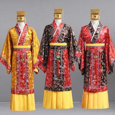 唐代古装男汉秦汉代龙袍唐龙皇帝服装太子装古装演出服拍照送帽子