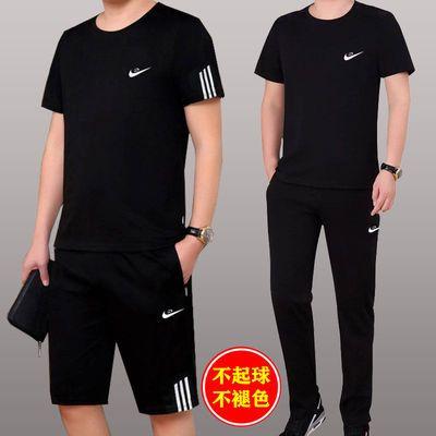 男士休闲套装夏季短袖短裤运动套装男时尚健身跑步运动服大码男装