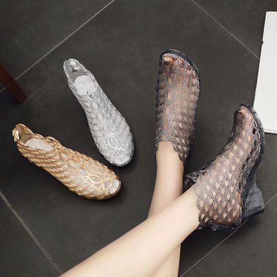 夏季鱼嘴水晶凉鞋坡跟厚底塑料果冻鞋广场舞女士平底沙滩鞋妈妈鞋