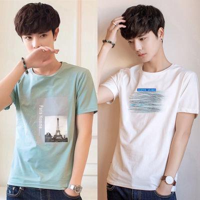 男士短袖t恤大码夏季新款学生打底衫男潮流韩版男装上衣修身半袖