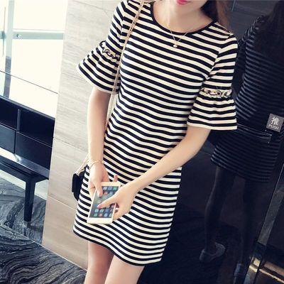 爆款女装中长款女式条纹宽松短袖T恤女韩版横条纹女士连衣裙