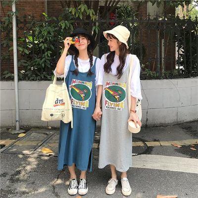 宽松韩版五分袖白T恤夏季减龄长款字母趣味开叉女学生吊带连衣裙