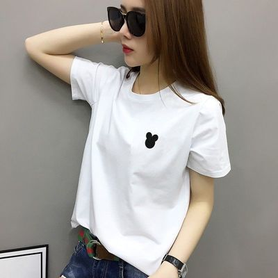 高品质95%棉2020新款夏装女简约纯白色棉t恤女短袖宽松休闲百搭