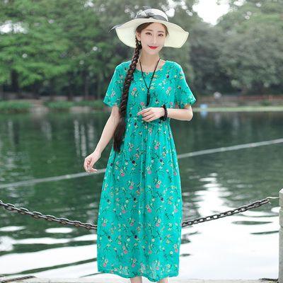 2020夏季新款女装民族风裙子棉麻印花圆领连衣裙束腰宽松显瘦长裙