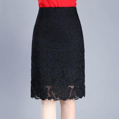 A05蕾丝半身裙女时尚短裙大码春秋冬季包臀裙A字中长款职业一步裙