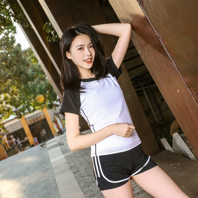 速干衣t恤女跑步衣服运动套装女学生韩版夏季瑜伽服套装女装短袖