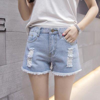 超短裤女夏季破洞牛仔裤女学生韩版原宿风裤子宽松高腰白色浅蓝色
