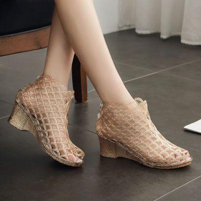 欧美女夏时尚塑料水晶鱼嘴凉鞋坡跟洞洞鸟巢果冻鞋防滑高跟妈妈鞋
