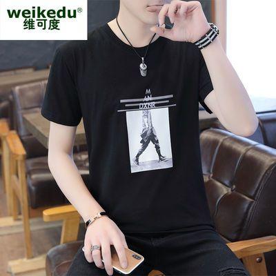 夏季男士短袖t恤棉T恤2019新款圆领体恤宽松半袖男装衣服韩版潮流